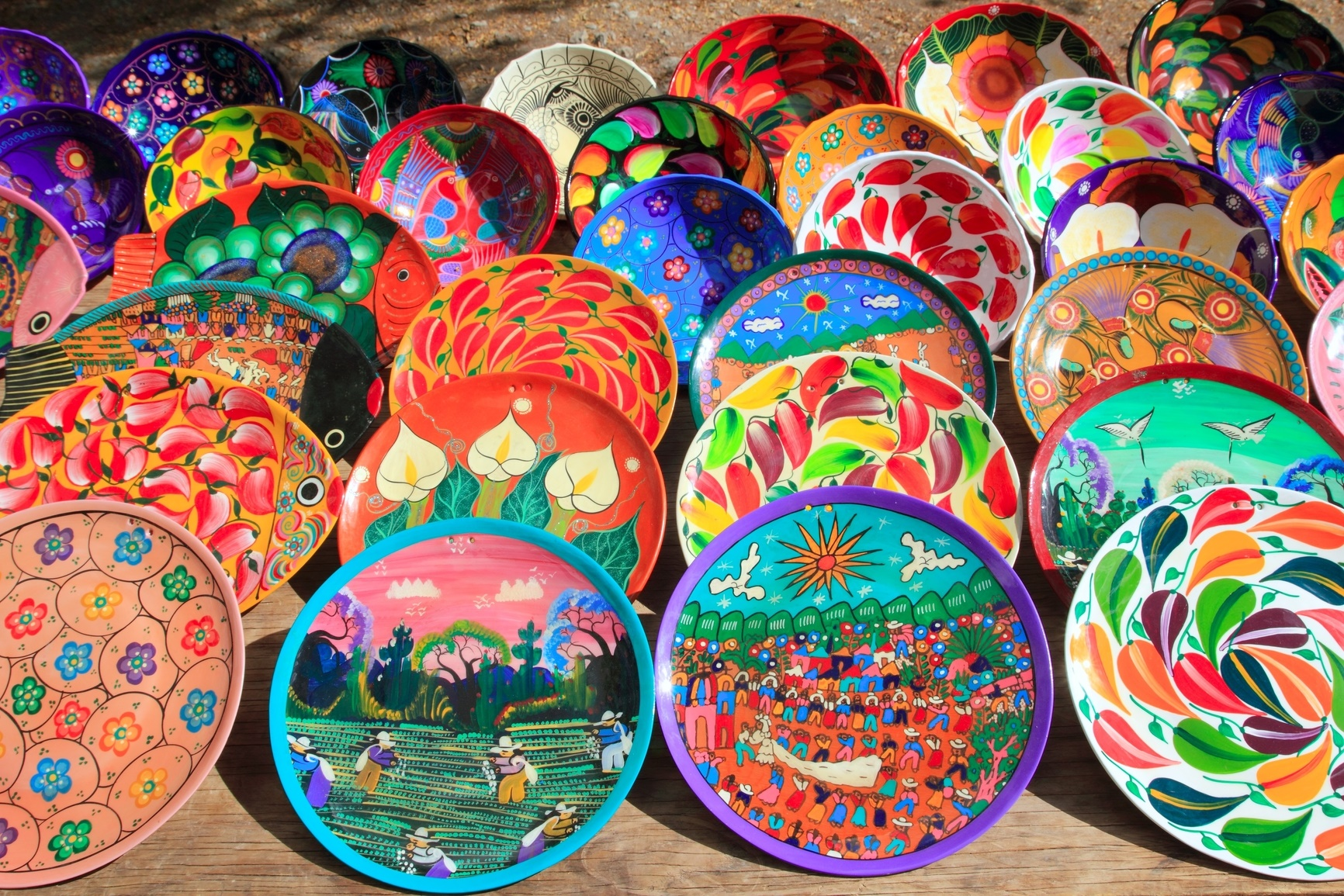 Arts and Crafts - Clay ceramic plates from Mexico colorful