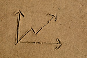 real estate broker - Line chart drawn in sand